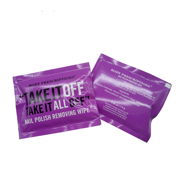 OEM Individually Portable Packaged Non-acetone Nail Polish Remover Wipes